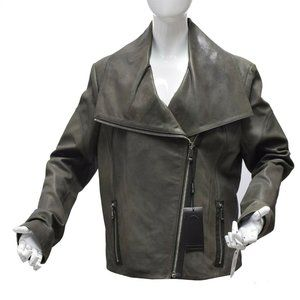 Andrew Marc Gray Green Olive Leather Jacket